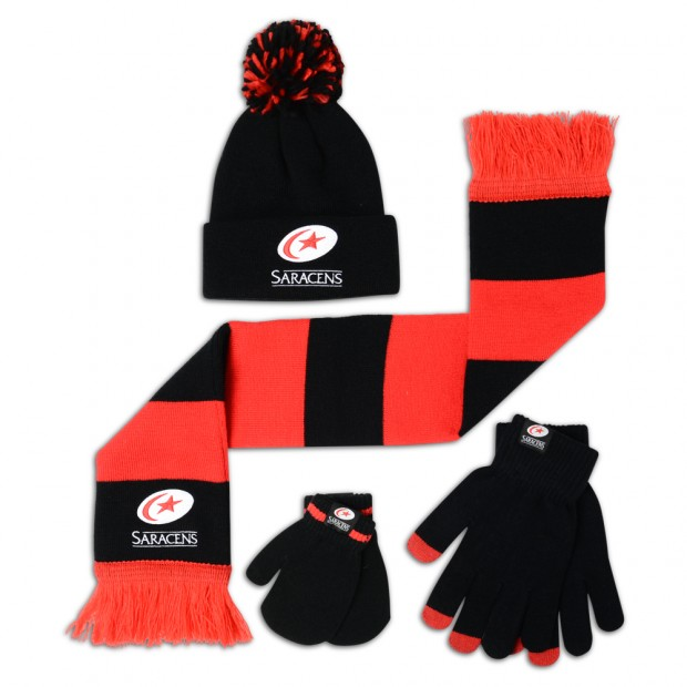 Saracens Infant Knitted Hat, Scarf and Mitt Set