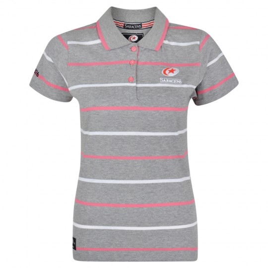 Saracens Ladies Striped Polo Shirt